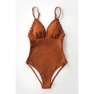 Cupshe Dark Amber Scalloped One Piece Bathing Suit